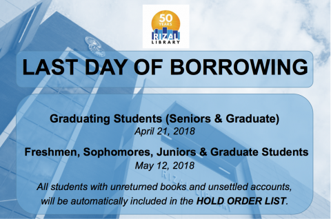 Last day of Borrowing Notice - 2nd Semester SY 2017-2018
