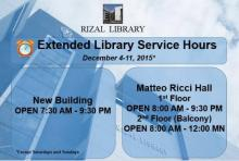 Rizal Library Extended Library Service Hours