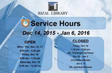Rizal Library Schedule - December 14, 2015 - January 6, 2016